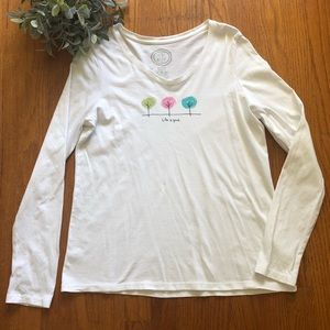 Life is Good White Long Sleeve Tee S